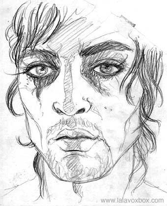 Fashion sketch of a man wearing smeared eyeliner, by LaLaVox.