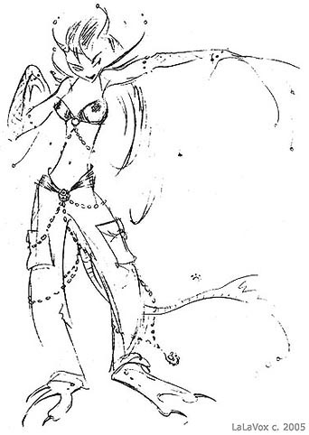 Fashion sketch of an alien girl, by LaLaVox.