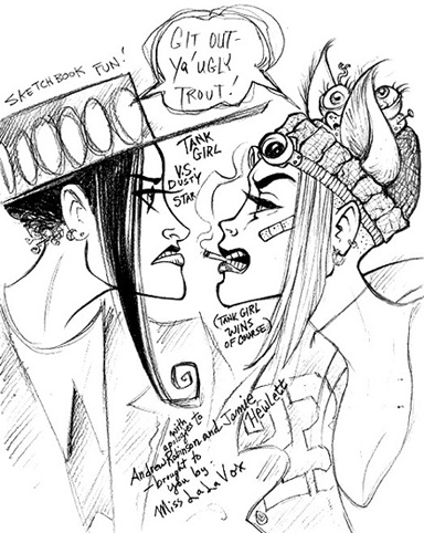 Fan-tribute sketches of Jamie Hewlett's Tank Girl vs Andrew Robinson's Dusty Star, by LaLaVox.